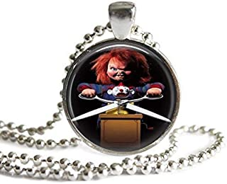 Chucky 1 Inch Silver Plated Picture Pendant Necklace