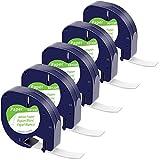 MarkField Ruban pour Étiqueteuse Compatible pour Dymo LetraTag Ruban Papier 12mm x 4 m Noir sur Blanc, Recharge pour Dymo Label Tape XR LT-100H LT-100T QX50 XM(Dymo Letratag Paper White S0721510)