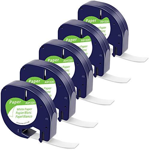 MarkField Kompatible Etiketten als Ersatz für Dymo LetraTag Etikettenband Paper White 12mm x 4m, Dymo Papier Schriftband 10697 91220 für Letratag LT-100H LT-100T LT-100T XR XM 2000, Schwarz auf Weiß