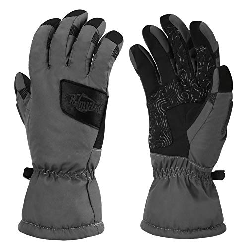Palmyth Waterproof Ice Fishing Winter Gloves Warm for Cold Weather Men and Women 3M Thinsulate Windproof Insulated Thermal for Ski, Shovel Snow, Snowboard, Snowmobile, Touch Screen (Gray, Large)