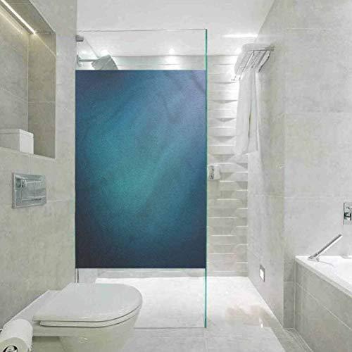 Película de vidrio electrostática 3D sin pegamento para puertas y ventanas, fondo azul marino estilo Ombre hogar, baño inodoro, 45 cm de ancho x 199 cm de largo