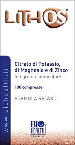 Biohealth Italia Lithos Integratore Alimentare a Base di Citrato di Potassio di Magnesio e di Zinco - 100 Compresse