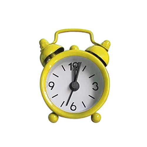 FAMYNGL Sveglia per Bambini Creativo Carino Mini Metallo Piccolo Sveglia Elettronica Piccola Sveglia Sveglie (Color : Yellow)