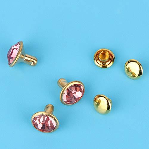 Punk Diamond Spikes botones tachuelas Rhinestone remaches con incrustaciones de cristal rápido cinturón para bolsas de cuero (Phnom Penh + rosa diamante)