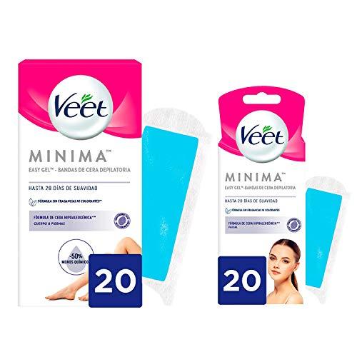 Veet Pack Bandas de Cera Fría Depilatoria para Depilación Facial + Cuerpo y Piernas, Hipoalergénicas para Pieles Sensibles - 2x20 bandas - 40 unidades