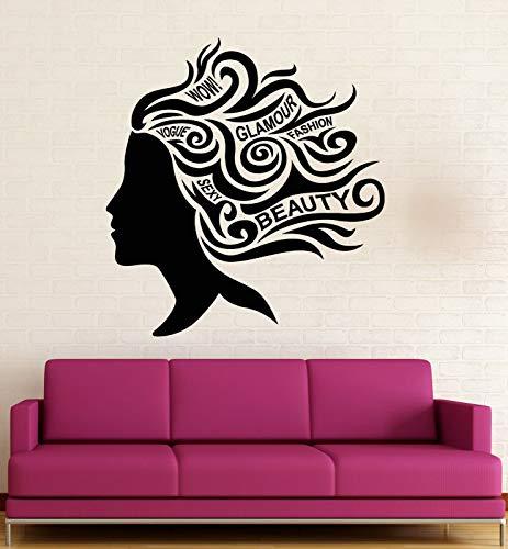 Chica etiqueta de la pared pelo moda glamour palabra salón de belleza chica dormitorio decoración interior puerta ventana vinilo calcomanía mural