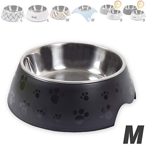 Generisch Designer Futternapf für kleine mittel- und große Hunde oder Katzen, mit Muster bemalt | Fressnapf stabil, robust & rutschfest | Melamin-Napf 350 ml | herausnehmbarer Edelstahl-Napf
