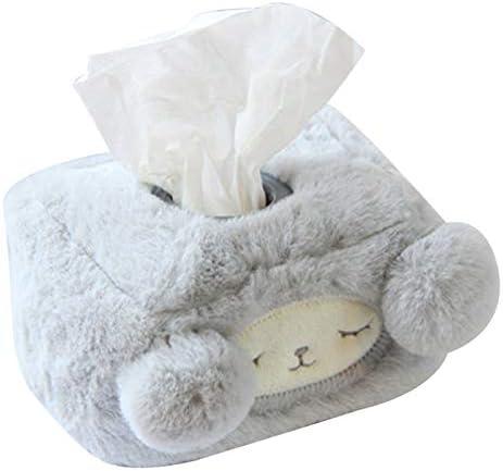 ZJMIQT WeefseldoosBlauw lam Tissue Box Pluche Cartoon Schapen Tissue Box Cover Auto Woonkamer Slaapkamer Gevulde Tissue Box HouderVierkant 14X11X7Cm