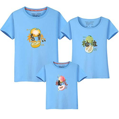 T-shirt Familia Y Bebe,Ropa de verano para padres e hijos para una familia de tres y cuatro 2021 nueva marea ropa de mujer para madre ropa familiar de manga corta de estilo occidental-Agua Azul_Homb
