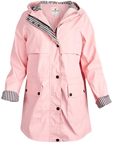 URBAN REPUBLIC Women's Lightweight Vinyl Hooded Raincoat Jacket (Pink/Cinched Waist, 2X)