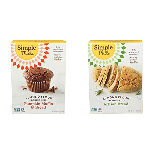 Simple Mills Almond Flour Baking Mix, Gluten Free Pumpkin Bread Mix, Muffin pan ready, Made with whole foods & Almond Flour Baking Mix, Gluten Free Artisan Bread Mix, Made with whole foods