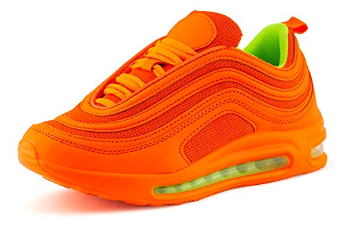Fusskleidung Damen Herren Sportschuhe Sneaker Dämpfung Laufschuhe Neon Jogging Gym Unisex Orange Orange EU 43