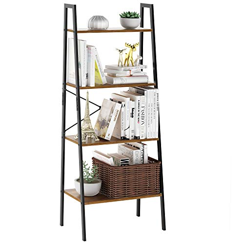 LANGRIA Industrial Ladder Shelf 4 Tier Vintage Bookcase Bookshelf Wood Storage Standing Racks Unit Metal Frame for Bedroom, Living, Office