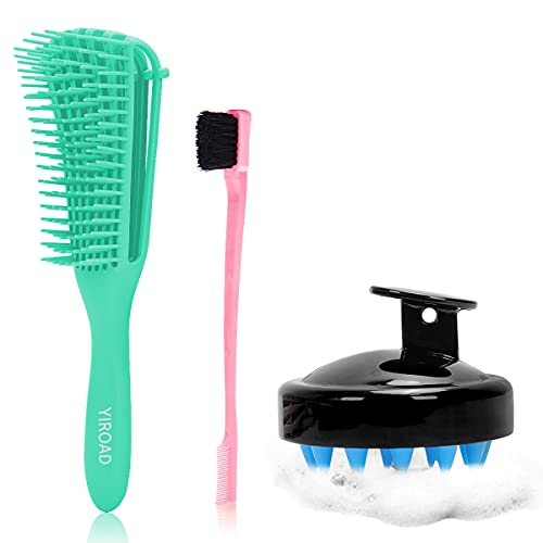 Detangling Hairbrush For Natural Curly - Afro Hair 3a To 4c,Wet And Dry Hair Comb scalp Massager...