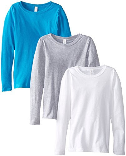 Clementine Big Girls' Everyday Long Sleeve Tee Assorted 3 Pack, White/Grey/Turquoise,Large (10-12)