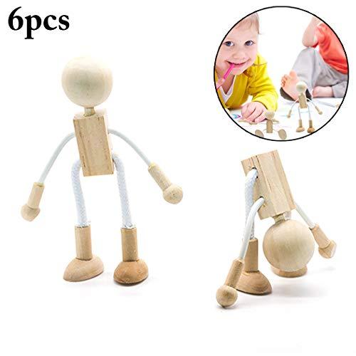 Joyibay 6 Stücke Kinder Holz Figur DIY Malerei Flexible Holz Puppe Handwerk für Kleinkind
