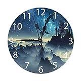Mailine Reloj de Pared Redondo 3D Fantasy Dragons and Castle Reloj de Pared Redondo Silencioso sin tictac Funciona con Pilas Fácil de Leer Reloj Decorativo Arte