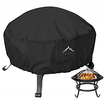 Himal Outdoors Fire Pit Cover- Heavy Duty Waterproof 600D Polyster with Thick PVC Coating, Round Fire Pit Cover