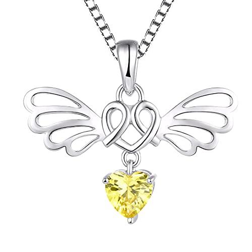 Starchenie Amor corazon on collar de alas de ángel colgante de circonita cúbica de plata de ley 925 para mujer