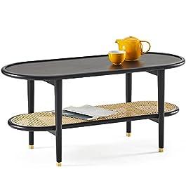 Harmati Table basse pour salon – Table d'appoint noire avec rangement, tables modernes du milieu du siècle, pieds en…