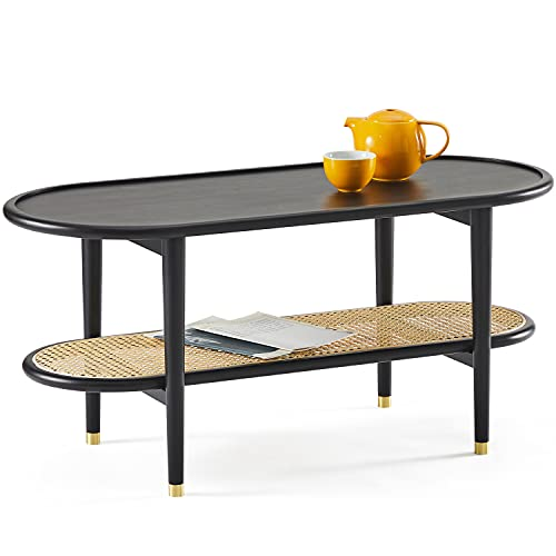 Harmati Coffee Table for Living Room - Black Accent Table with Storage, Mid Century Modern Tables, Solid Wood Legs & Natural Rattan