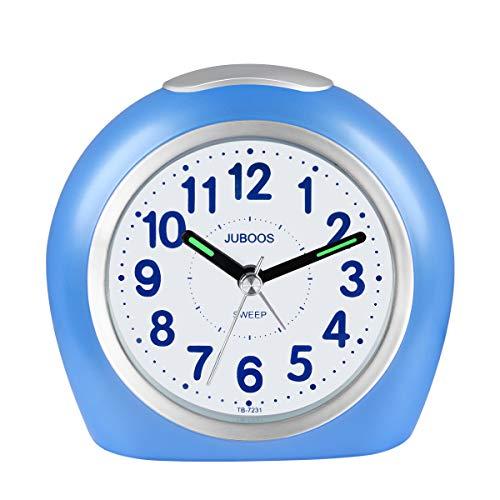 Kinderwekker jongens, kinderen analoge wekker zonder tikken geruisloze wekker met nachtlampje voor jongens meisjes jongens blauw