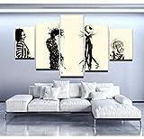 baixiangguo Cuadros Decoracion Sala De Estar Mural Moderno De 5 Paneles, Pintura sobre Lienzo, Decoración De Cuadros, Decoración Moderna del Hogar-150Cm X 80Cm,Tim Burton World Cartoon