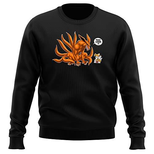 Pull Noir Parodie Naruto - Sonic - Kyubi and Tails - Traduction Anglais (Sweatshirt de qualité Premium de Taille S - imprimé en France)
