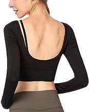Women's Open Back Workout Yoga Crop Top Shirts Built-in Padded Bra Long Sleeve Black