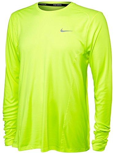 Nike Df Miler Ls Maglia da Corsa - Giallo (Volt) - XL