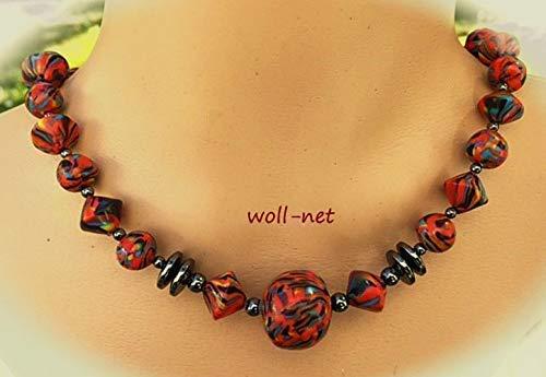 Schmuckset: Perlenkette Ohrringe Damen Handmade rot schwarz blau gelb Gesamtlänge: ca. 42 cm, zzgl. VL ca. 3 cm