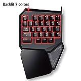 Teclado para juegos para una sola mano, sensacin mecnica, 7 Colores, retroiluminacin LED, almohadilla de mueca antifatiga, teclado colorido para juego profesional