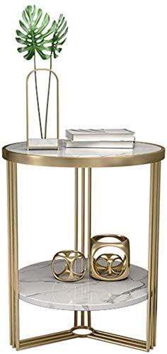 Nest of Tables Mesa de Centro Blanca Mesas auxiliares Lado de mármol 2 Niveles Sofá de Sala de Estar Extremo de café Metal Hierro Forjado Balcón Dormitorio de Ocio Oficina de Noche, Oro + Blanco, 45c