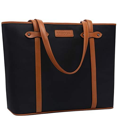 Laptoptasche für Damen, 39,6 cm (15,6 Zoll), leicht, groß, wasserabweisend, Nylon, Schultasche, Handtasche, Schwarz
