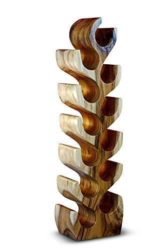 Kinaree Massivholz Weinregal für 12 Flaschen - 100cm freistehendes Flaschenregal in Baum Form aus einem Stück massiver Akazie (Suar) in rustikaler Optik