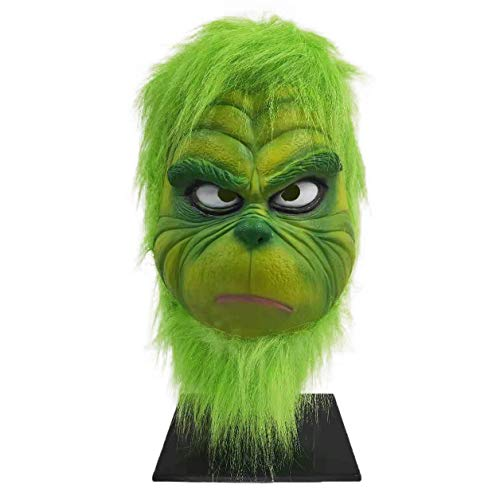 Grinch Mask, Santa Hat Christmas Costume Latex mask Cosplay Costume Accessories