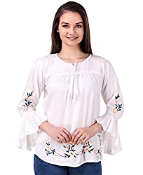 Elyraa Womens Embroidered Rayon Cotton Top for Dailywear Casual Women/Girls Tops White