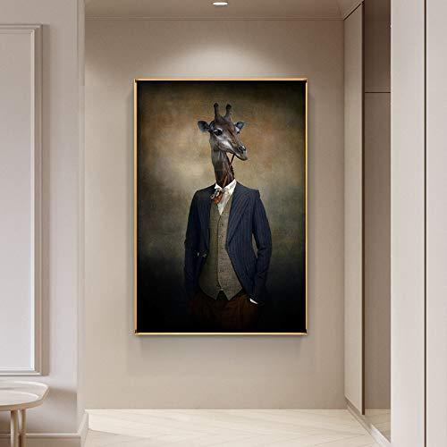 wZUN Arte Mural en la Pared de una Jirafa con Traje, Carteles de Animales e Impresiones en un Lienzo con una Imagen de una Jirafa fumando en la Sala de Estar 60x90 Sin Marco