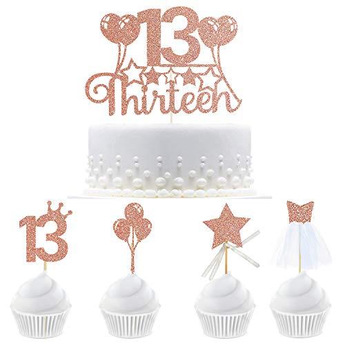 13 33 piezas de rosa oro Lovely Birthday Party decoracin Cupcake Topper Kit con figura 13,Balloon, estrellas de cinta, Toppers de disfraz de Cupcake 3D para decoracin de tercer cumpleaos.