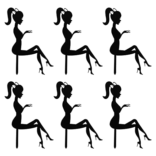 YARNOW 6 piezas High Heel Girl Cake Topper delicado acrílico pastel Picks Tischkuchen Dekorationen para Cupcake Party postres (Negro), acrílico, Negro , 15,5 * 10