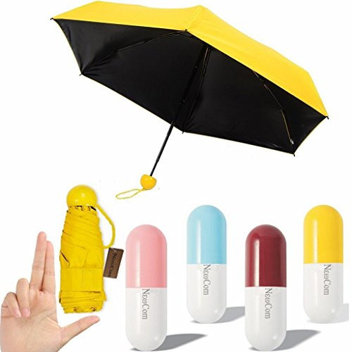 NEWCOM Ultra Lights and Small Mini Umbrella with Cute Capsule Case,5 Folding Compact