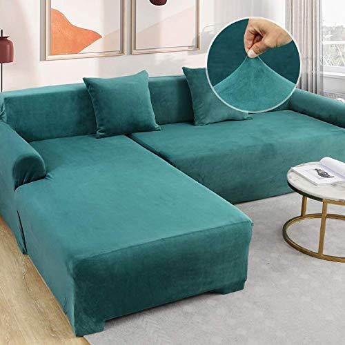 MLECA Funda de sillón Terciopelo de Cristal Tejido elástico Funda de sofá Funda Cubre Sofá Antideslizante Universal Protector de Sofá para niños y Mascotas Suave-57-72Zoll Azul Marino
