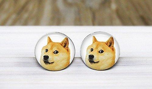 Pendientes de tuerca hipoalergénicos de acero quirúrgico hipoalergénicos para perro, diseño de emoticonos