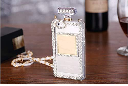 KESHOUJI Fundas para iPhone X XS MAX XR 7 8 Plus 5 5S SE 6 6S Plus Botella de Perfume de Diamantes de imitación de Moda Funda de Silicona con Cadena, Transparente 1, para iPhone XS MAX