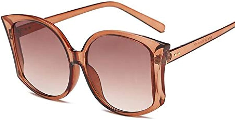 AAMOUSE Sunglasses New Retro Big Frame cat Eye Sunglasses Fashionable Ocean Transparent Frames Retro Lenses Reflective Sunglasses