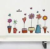 iTemer 1 set Pegatinas pared decorativas Stickers Vinilos decorativos pared dormitorio Decoracion pared Plantas en macetas Coloreado 45 * 60cm