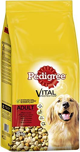 Pedigree Hundefutter Trockenfutter Adult mit Rind und Gemüse, 1 Beutel (1 x 15kg)
