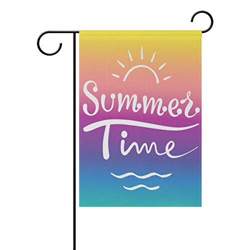 Nijio Rainbow Summer Time Hello Welcome Garden Flag House Flag Yard Banner for Outside Flower Pot Double Side Print 40 x 28 or 12 x 18 Inch