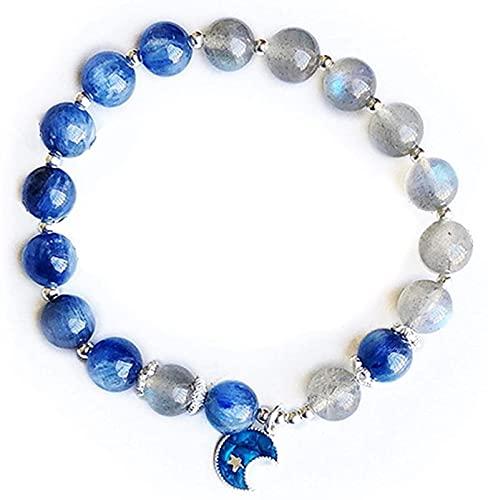 Plztou S925 Silver Natural Feng Shui Bracelet Kyanite Lime Moonstone Moon Forma Accesorios Pequeñas Joyas de Cristal aporta Buena Suerte Atrae el Amor de la Riqueza por Las Mujeres