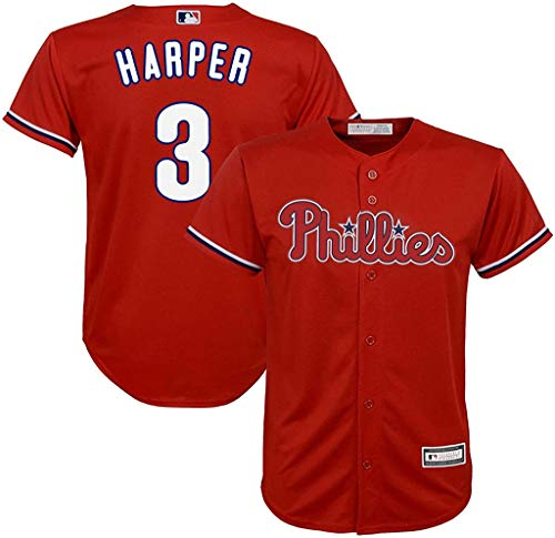 OuterStuff Bryce Harper Philadelphia Phillies MLB Majestic Boys Kids 4-7 Red Alternate Cool Base Player Jersey (Kids 5/6)